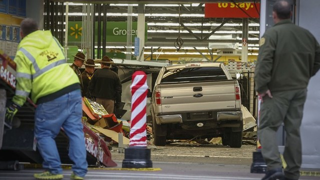 Pickup truck crashes into Walmart, 3 people killed