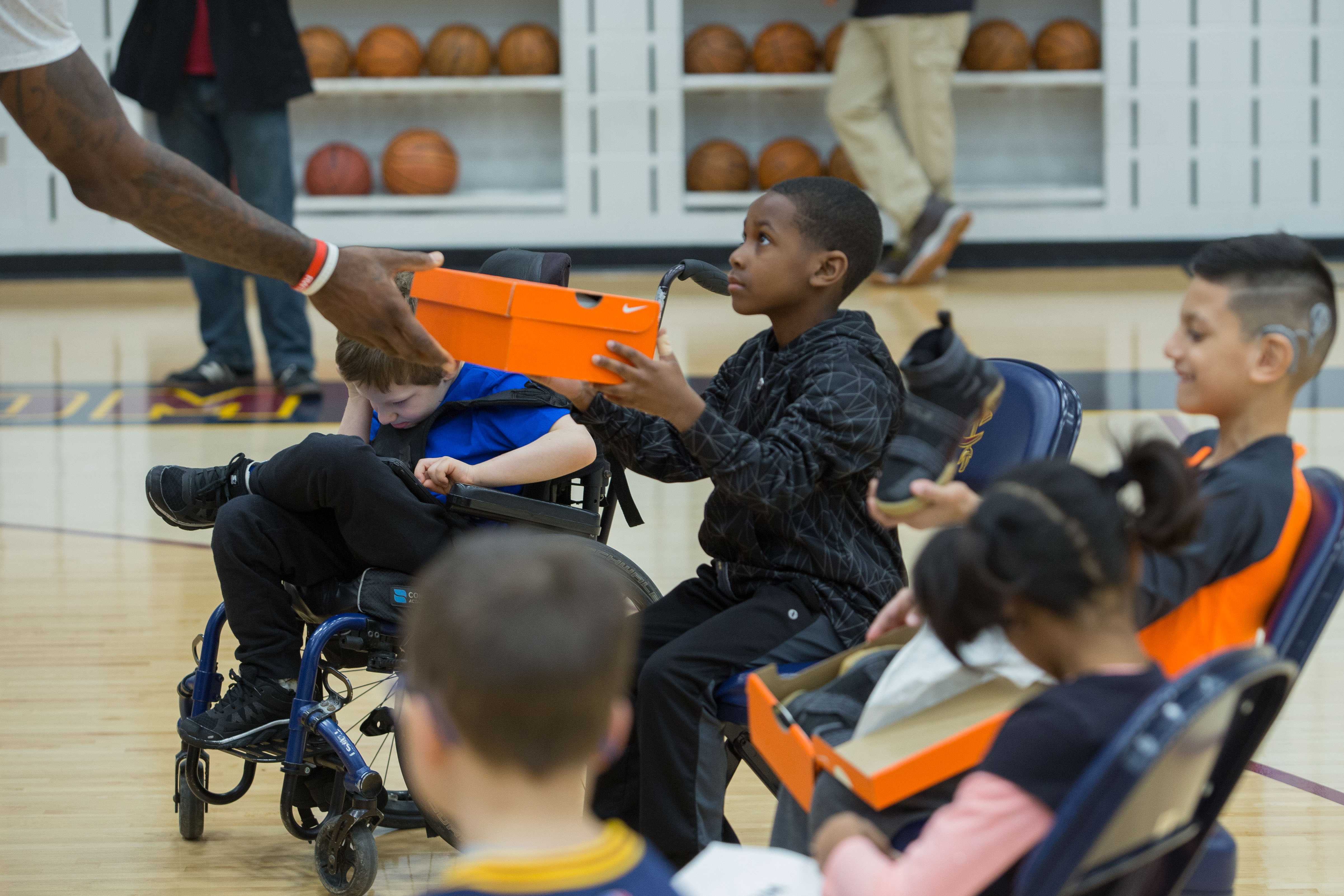 LeBron James gives Nike shoes to Cleveland Clinic kids